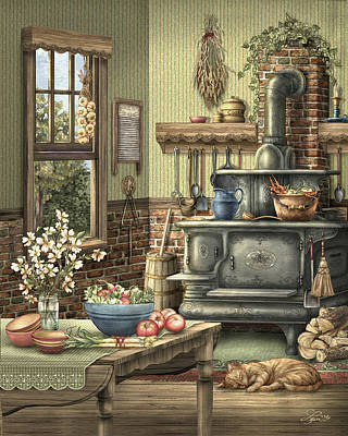 Old-fashioned Mixed Media - Grandmother's Kitchen by Beverly Levi-Parker