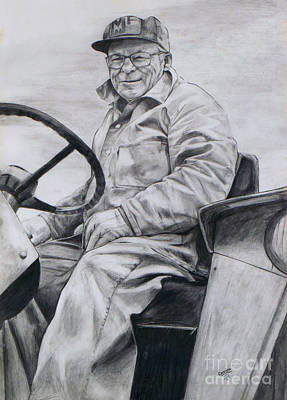 Art Print featuring the drawing Grandpa by Joy Nichols