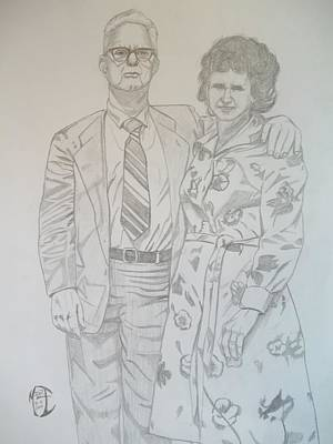 Art Print featuring the drawing Grandparents Of Late 1970s by Justin Moore