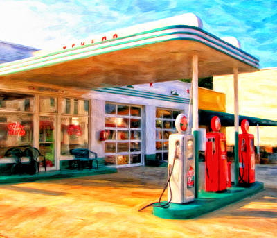 Service Station Painting - Grandpa's Texaco by Michael Pickett