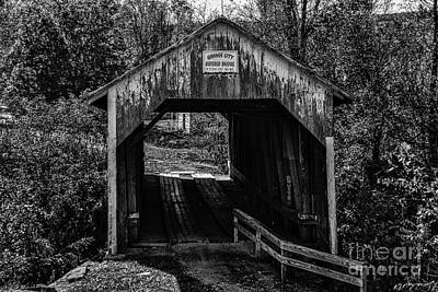 Photograph - Grange City Covered Bridge - Bw by Mary Carol Story
