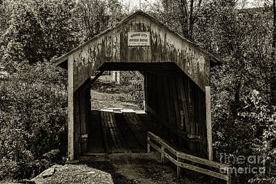 Photograph - Grange City Covered Bridge - Sepia by Mary Carol Story