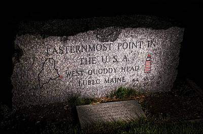 Granite Monument Quoddy Head State Park Print by Marty Saccone