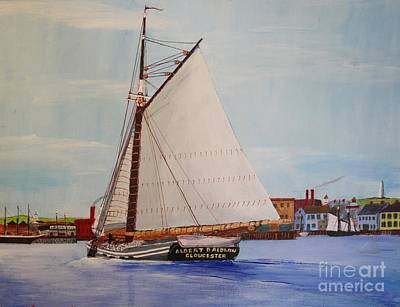 Drawing - Granite Sloop Albert Baldwin In Boston Harabor 1900 by Bill Hubbard