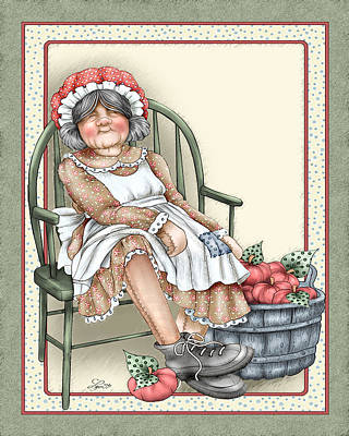 Rag Doll Painting - Granny Rag by Beverly Levi-Parker