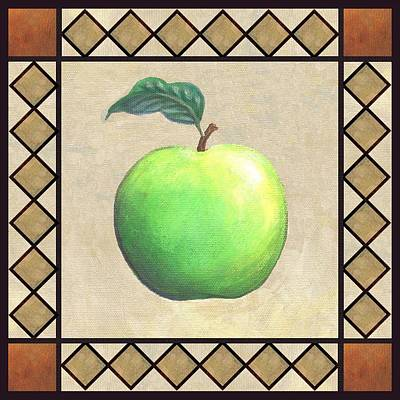 Folk Art Painting - Granny Smith Apple by Linda Mears
