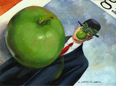 Painting - Granny Smith On Magritte by Marguerite Chadwick-Juner