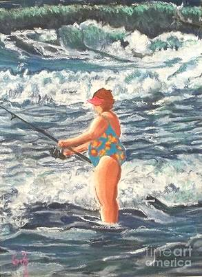 Granny Surf Fishing Art Print by Frank Giordano