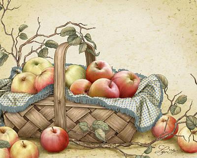 Granny's Basket Art Print by Beverly Levi-Parker