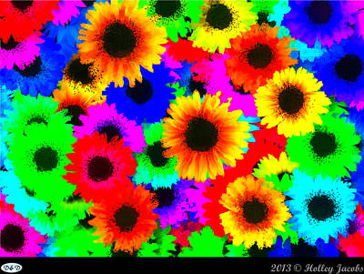 Digital Art - Granny's Garden Colorful by Holley Jacobs