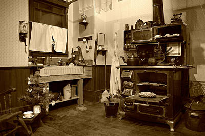 Photograph - Granny's Kitchen - Sepia by Marilyn Wilson