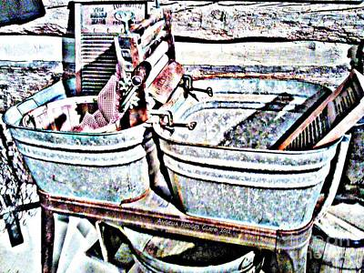 Digital Art - Granny's Washtub Memories by Angelia Hodges Clay