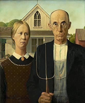 Pitch Painting - Grant Wood American Gothic 1930 by Movie Poster Prints
