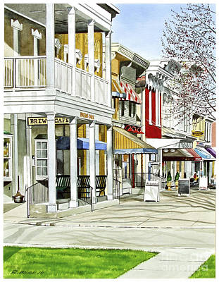 Store Fronts Painting - Granville Ohio Sidewalk by Rick Mock