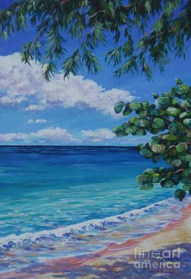 Caribbean Painting - Grape Tree On 7-mile Beach by John Clark