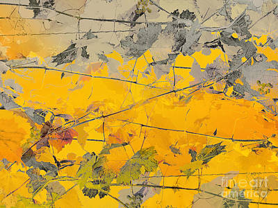 Grape Vines Taupe And Autumn Gold Print by CR Leyland