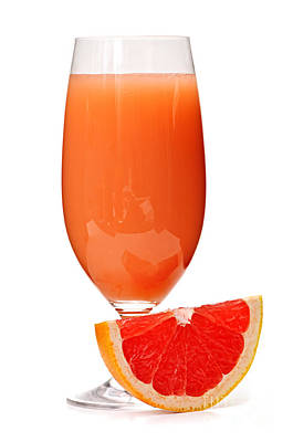 Grapefruit Juice In Glass Print by Elena Elisseeva