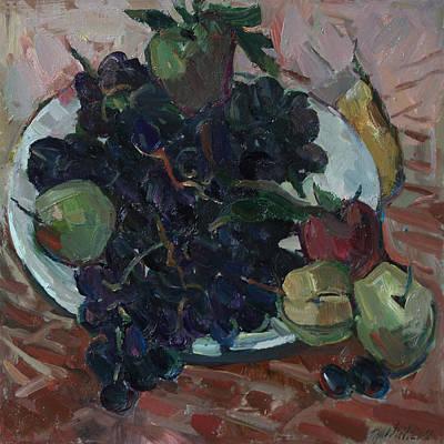 Painting - Grapes And Apple by Juliya Zhukova