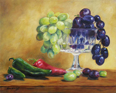 Grapes And Jalapenos Art Print