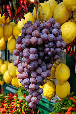 Blue Grapes Photograph - Grapes And Lemons - Fresh Fruit by Matthias Hauser