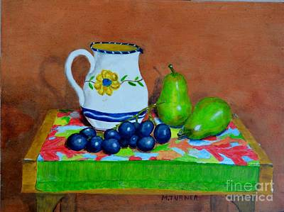Art Print featuring the painting Grapes And Pairs by Melvin Turner