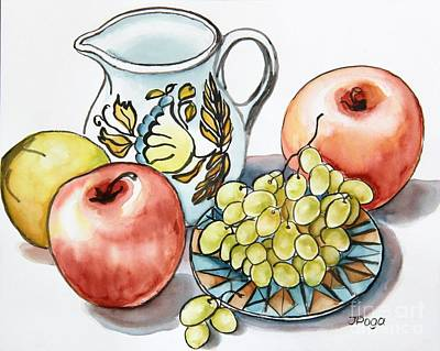 Painting - Grapes And White Pitcher Still Life by Inese Poga