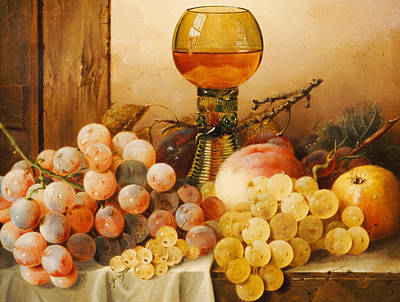 Grapes Apples Plums And A Peach With Hock Glass On Draped Ledge Print by Edward Ladell