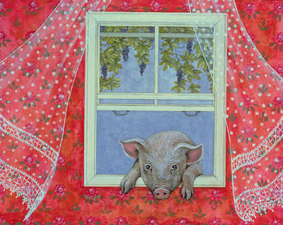 Red Drape Painting - Grapes At The Window by Ditz