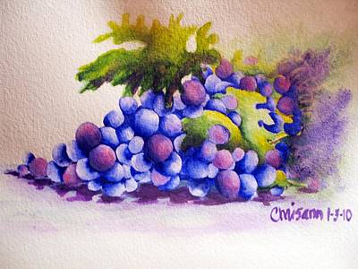 Cookbooks Painting - Grapes by Chrisann Ellis