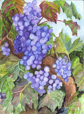 Grape Leaves Drawing - Grapes For The Harvest by Carol Wisniewski