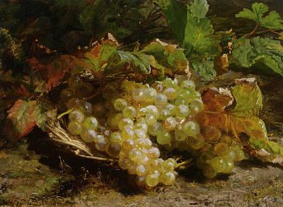 Grape Leaf Digital Art - Grapes In A Basket by Geraldine Bakhuyzen