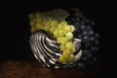 Grapes In Silver Seashell Still Life Art Print by Tom Mc Nemar