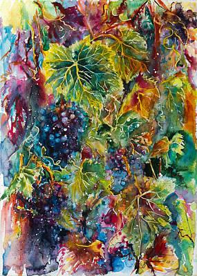 Grapes Painting - Grapes by Kovacs Anna Brigitta