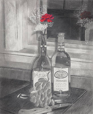 Drawing - Grapes N Flowers by Susan Schmitz