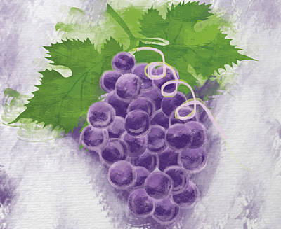 Purple Grapes Digital Art - Purple Grapes by Seema Singh