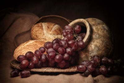 Pottery Photograph - Grapes With Bread Still Life by Tom Mc Nemar