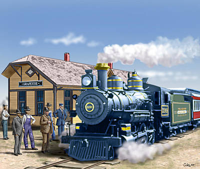 Old Grapevine Train Station Texas - Vintage - Old Art Print