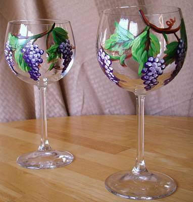 Painting - Grapevine Wine Glass by Sarah Grangier