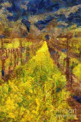 Grapevines And Mustard Art Print by Alberta Brown Buller