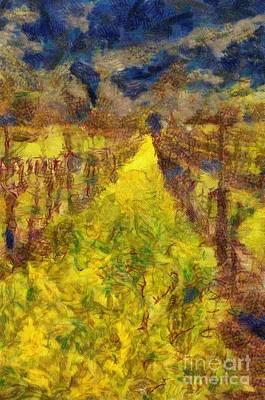 California Vineyard Digital Art - Grapevines And Mustard by Alberta Brown Buller