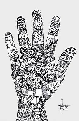Indian Ink Mixed Media - Graphic Hand by Yomutan Simoes