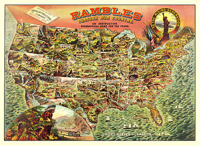 Antique Map Digital Art - Graphic Illustrated Usa by Gary Grayson