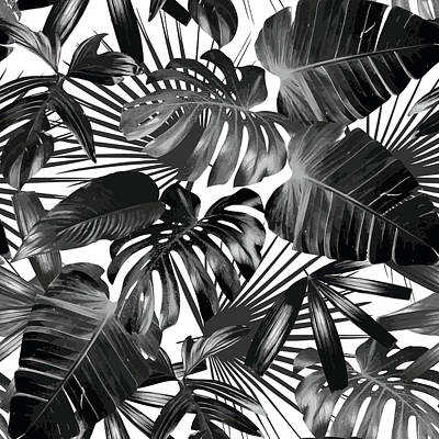 Digital Art - Graphic Palm Leaves Seamless Background by Berry2046