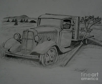 Chevrolet Truck Drawing - Graphite Chevrolet Truck by Anthony Dunphy