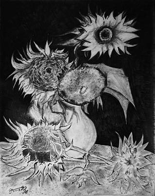 Still Life Drawings - Graphite Pencil Replica of Vincents Still Life Vase with 5 Sunflowers by Jose A Gonzalez Jr
