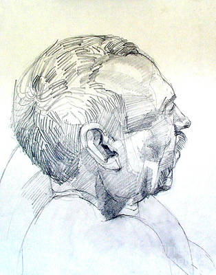 Drawing - Graphite Portrait Sketch Of A Man In Profile by Greta Corens