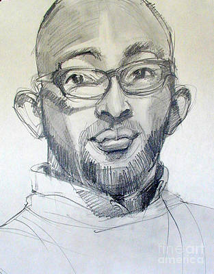 Drawing - Graphite Portrait Sketch Of A Young Man With Glasses by Greta Corens