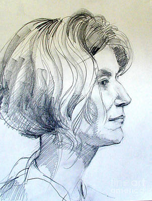 Drawing - Portrait Drawing Of A Woman In Profile by Greta Corens
