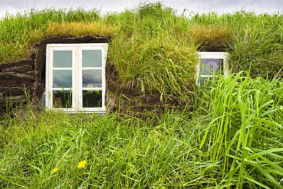Grass Roof House In Iceland Detail Art Print by Matthias Hauser