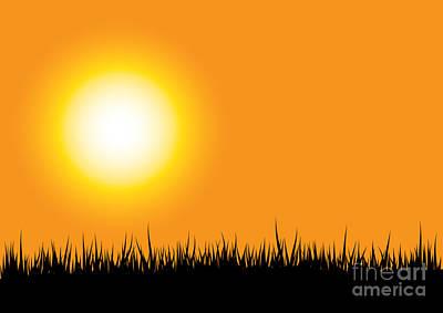 Grass Silhouette Orange Art Print